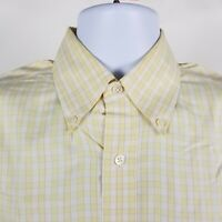 Brooks Brother Country Club Mens Yellow Check Dress Button Shirt Sz Medium M