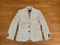 New J CREW Women's Size 2 Schoolboy Blazer Navy And White Polka Dot Linen