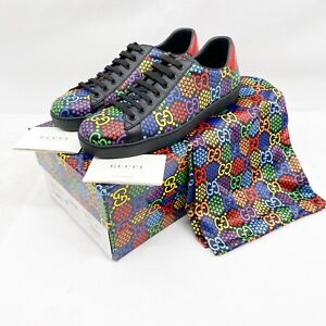 GUCCI SNEAKERS PSYCHEDELIC ACE GG LOGO SUPREME SNEAKERS $670 Sz 9G