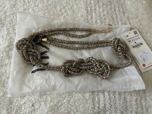 Zara Aged Gold Sparkly Knotted Belt Size 32 RRP £29.99