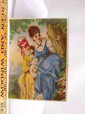 Victorian Trade Card Pretty Ladies Fancy Dresses Woods Tree Flowers F41