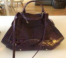 Authentic GIANNI VERSACE 2WAY Boston Bag Shoulder Strap Crocodile Like Leather