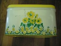 Vintage (1950's) Tin Bread Box with Hinged Yellow Lid - Sunflowers & Grass Decor