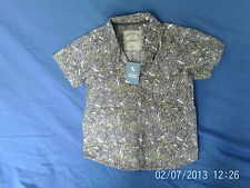 Boys 5 Years - Grey, Green & White Patterned Short Sleeve Shirt - TU NEW  BNWT