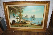 Frederico Signed Spanish Seascape Painting Large Framed Art