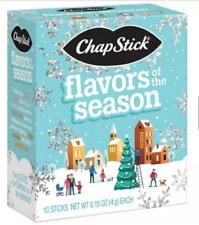 New Chapstick 10 ct pack Flavor of Season Candy Cane Cocoa Sugar Pumpkin Vanilla