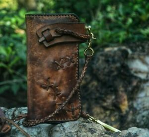 Custom Leather Biker Wallet Chain Motorcycle Wallet Handmade Leather Wallet X27