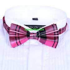 1 x mens girls ladies silk bow tie bowtie necktie party pink tartan plaid shirt