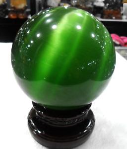 80MM + STAND Hot SEll ASIAN QUARTZ CAT EYE CRYSTAL BALL SPHERE