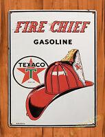 "TIN SIGN ""Fire Chief"" Texaco Oil Garage Rustic Wall Decor"