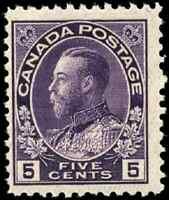 Canada #112a mint F-VF OG NH 1924 King George V 5c violet Admiral Wet, Thin pap