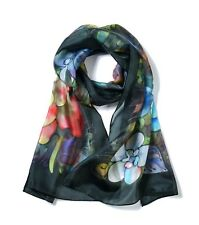 Women's 100% Silk Hand-Painted Lightweight Rectangular Scarf Neckerchief  - Suzy