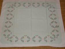 Vintage ivan Bartlett Pale Mint Green & Pink Flowers Small Tablecloth 32 x 40
