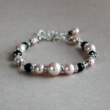 Vintage pink blush black pearls silver wedding bridesmaid bridal beaded bracelet
