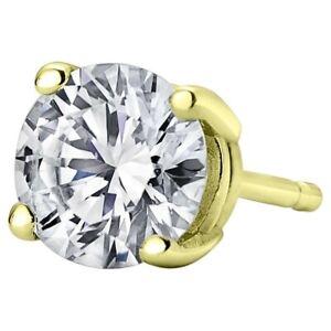 0.10ct Lab Grown Diamond Single Stud Earring for Men 14K Yellow Gold (F-G, SI-I)