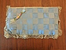 Antique Silk & Floral Handkerchief Holder -