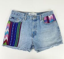 "VTG 90s EXPRESS Denim Cutoff Shorts 31"" High Waist Colorful Patches Festival"