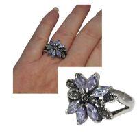 Bague fleur style art déco argent massif 925 zirconium violet marcassite T 56