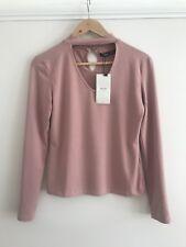 Bershka ( Zara Group ) Dusty Pink Jersey Top V-neck T-shirt With Choker M
