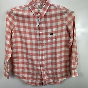 LL Bean Mens Large Coral/White Plaid LS Slightly Fitted Linen Shirt NWT's (O7)