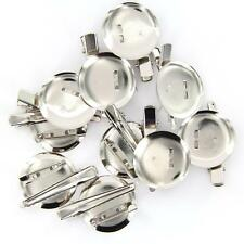 10 pcs Round Back Metal Brooch Pin Hair Alligator Clips Jewelry Accessories NEW