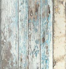 Vlies Tapete Antik Holz rustikal verwittert beige braun türkis blau Landhaus