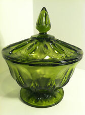 VINTAGE EMERALD GREEN GLASS PEDESTAL CANDY DISH WITH APOTHECARY LID