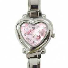 NEW HEART SHAPED GIRLS LADIES PINK DOLPHINS ITALIAN CHARM WATCH