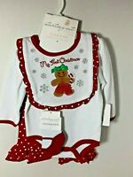Starting Out Christmas Embroidered Gingerbread 4 Piece Set 3 Month  NWT 40% OFF