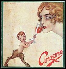 PUBBLICITA' 1920 CINZANO VINO VERMOUTH FAUNO DONNA BICCHIERE LIBERTY GOLIA COLMO