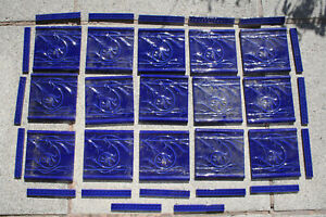 Set of 15 Italian Art Nouveau Style Tiles with 18 Border Pieces Salvaged