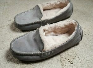 UGG Slippers Womens Size 10 Slip-on Hard Sole Gray Leather Sheepskin Lining