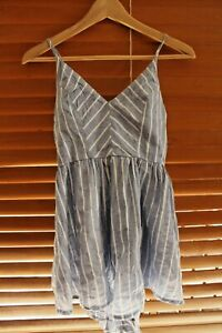 WHO I AM BLUE & WHITE STRIPE PLAYSUIT - SIZE 10 - EXCELLENT CONDITION
