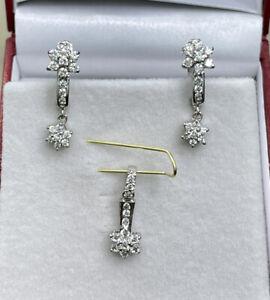14k Solid White Good French Clip Flower Dangle Earrings Pendant Set. 3.95 Grams