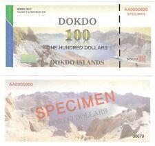 South Korea Dokdo 100 Dollars 2012 NEW SPECIMEN Private Fantasy Banknote