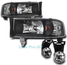 94-01 DODGE RAM PICKUP TRUCK BLACK CRYSTAL HEAD LIGHTS W/CHROME BUMPER FOG LAMPS