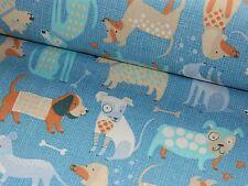 Baumwollstoff Baumwolle Stoff Meterware Hund Hunde blau Kinderstoff 50/160