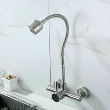 Wall Mounted Kitchen Faucet Stainless Steel Mixers Sink Tap 360 Degree Swivel