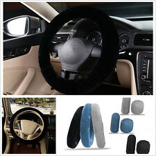 3x Non-slip Car Soft Wool Handbrake Gear Shift Cover Fuzzy Steering Wheel Cover