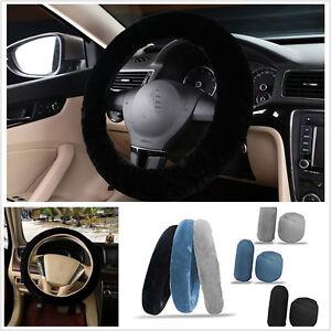 3x Non-slip Car Soft Wool Handbrake Gear Shift Cover Fuzzy Steering Wheel Cover