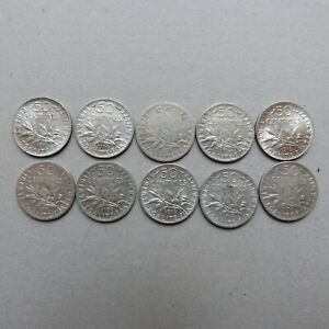 Lot 10 pièces 50 centimes SEMEUSE ARGENT (4)
