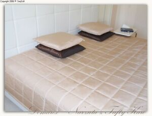 Tagesdecke Bettüberwurf 240x220cm beige Einseitig gesteppt Polyester Taft
