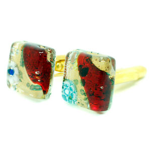Murano Glass Cufflinks Square Red Gold Millefiori Venice Wedding