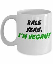 Vegan Mug, Kale Yeah I'm Vegan Mug - 11oz Novelty White Ceramic Tea Coffee Cup