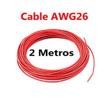 2 Metros Cable Rojo PVC Flexible 26AWG Nucleo Alambre Cobre