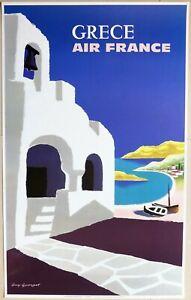 AFFICHE AIR FRANCE «GRÈCE» 1959 GUY GEORGET AVIATION RÉÉDITION 1987 100 x 62 cm