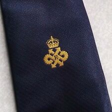QUEEN'S AWARD EXPORT LOGO TIE VINTAGE CLUB ASSOCIATION 1980s NAVY GOLD CREST