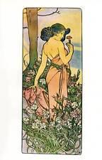 "ORIGINALE Vintage Art Nouveau Stampa Alphonse Mucha ""OEILLET"" LIBRO Piastra"