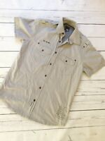 Jack & Jones Top Shirt Small Striped Short Sleeve Grey Casual Smart Spring