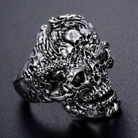 Mens Titanium Steel Gothic Punk Skull Head Biker Finger Rings Jewelry Fashion